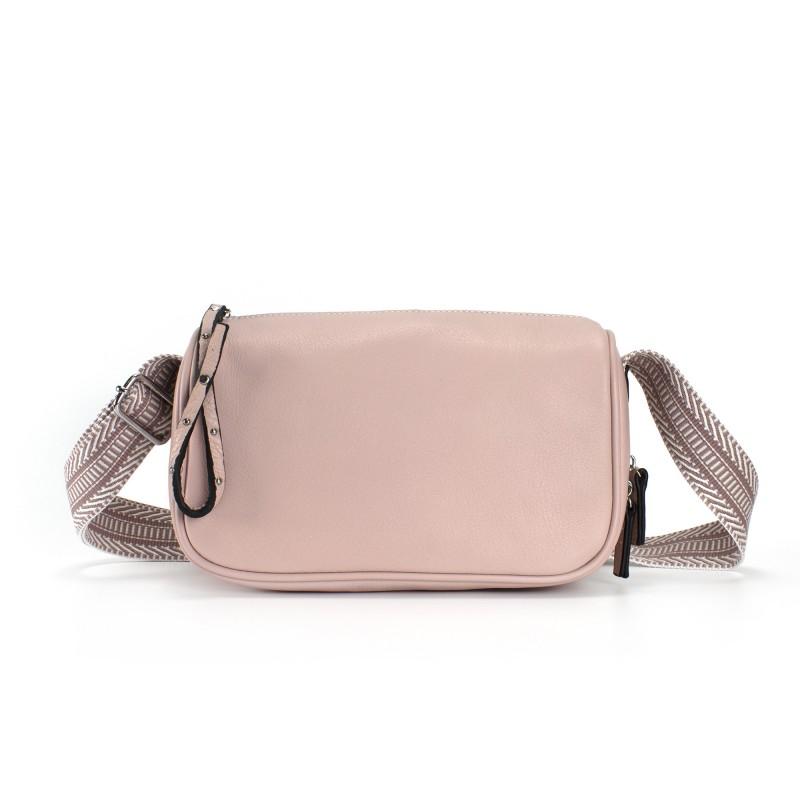 Женская кожаная сумка Diana светло-розовая пудра фото