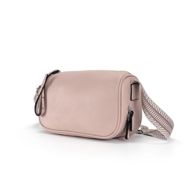 Женская кожаная сумка Diana светло-розовая пудра фото - 1