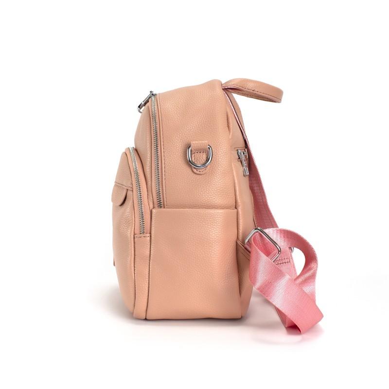 Женский рюкзак Jessica кожаный персиковый - 2 фото