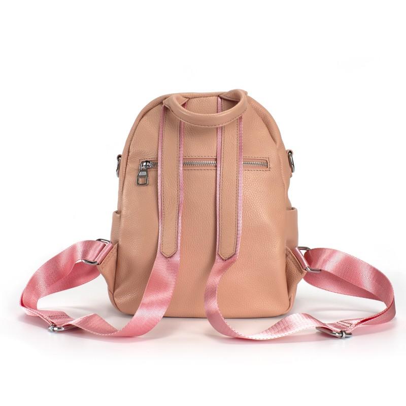 Женский рюкзак Jessica кожаный персиковый - 3 фото
