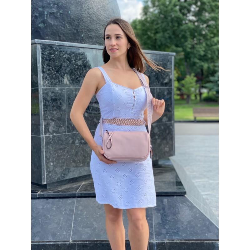 Женская кожаная сумка Diana светло-розовая пудра фото - 4