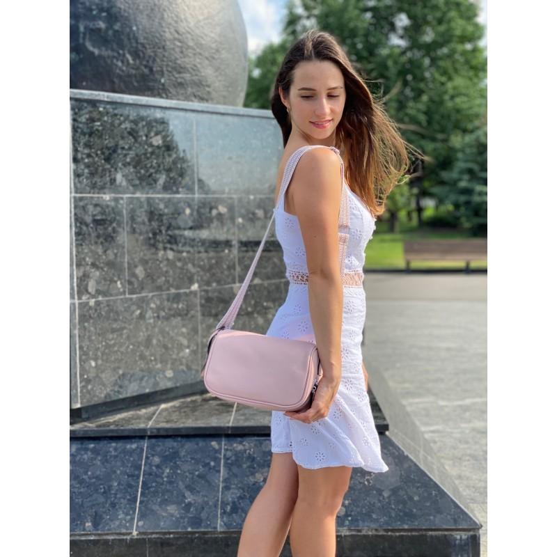 Женская кожаная сумка Diana светло-розовая пудра фото - 5
