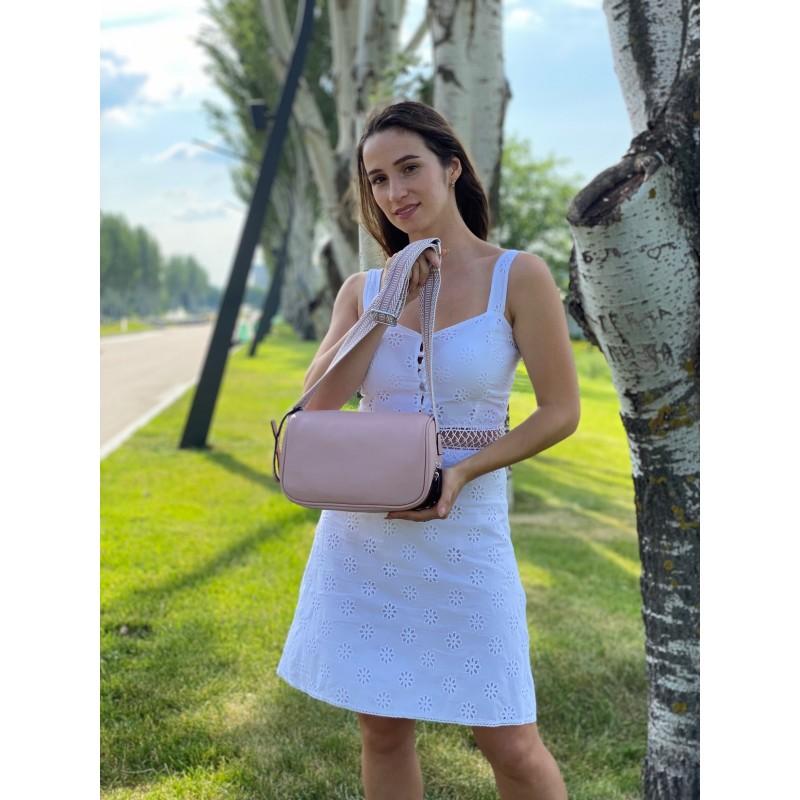 Женская кожаная сумка Diana светло-розовая пудра фото - 6