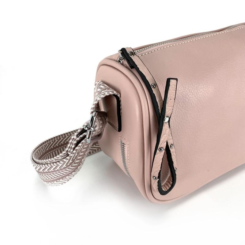 Женская кожаная сумка Diana светло-розовая пудра фото - 7