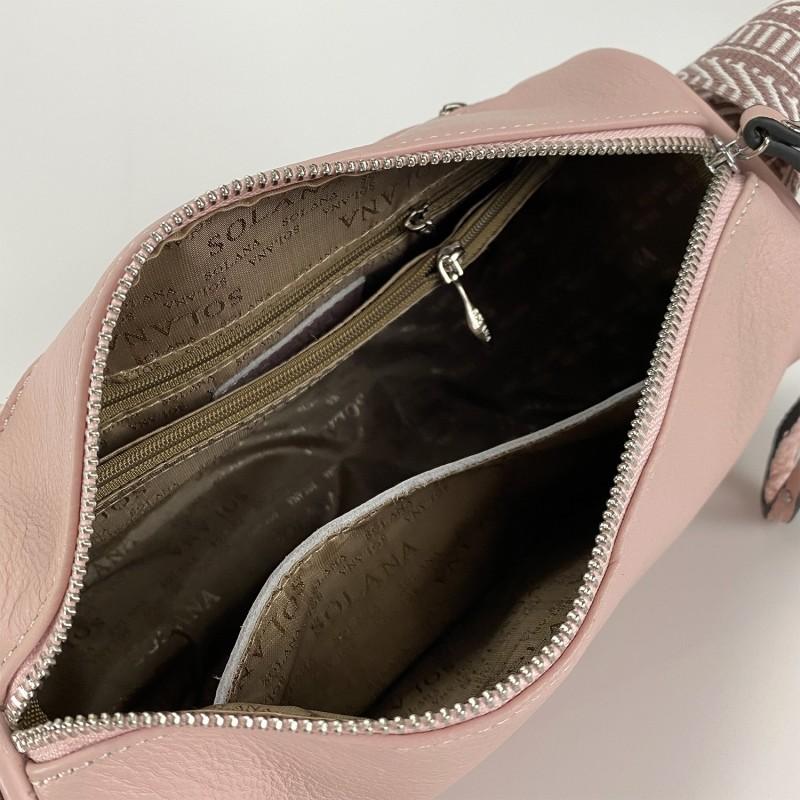 Женская кожаная сумка Diana светло-розовая пудра фото - 8