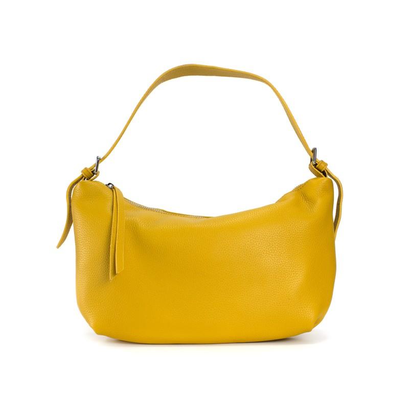 Женская кожаная сумка хобо Monica желтая фото