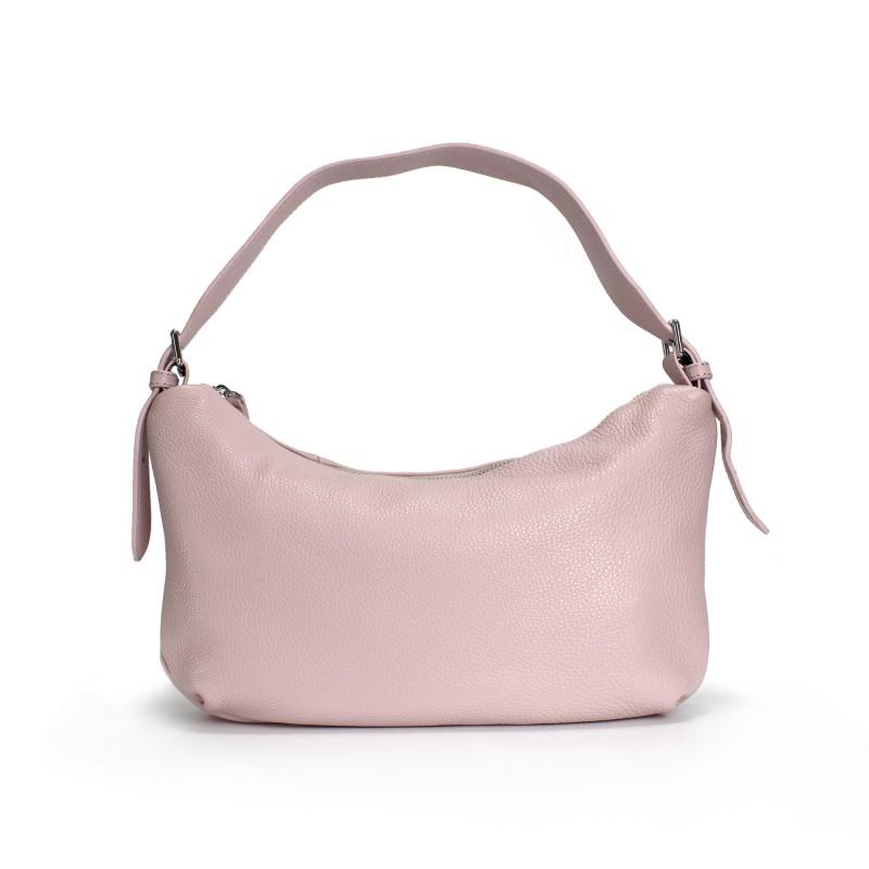 Женская кожаная сумка хобо Monica розовая пудра фото