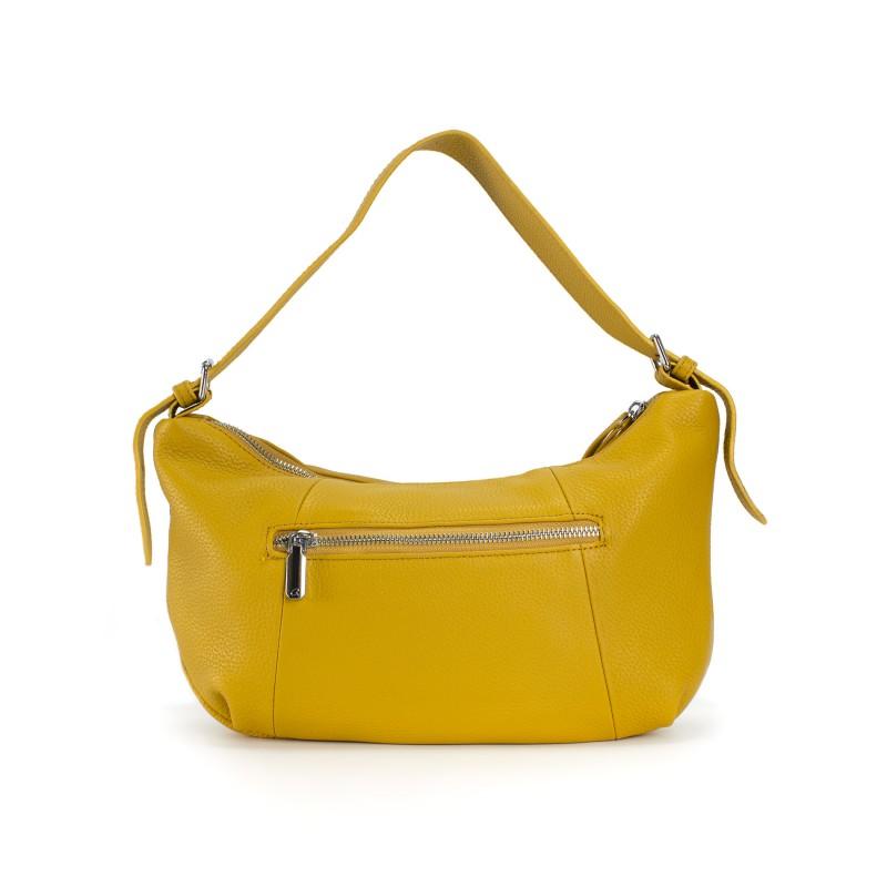 Женская кожаная сумка хобо Monica желтая - 1 фото