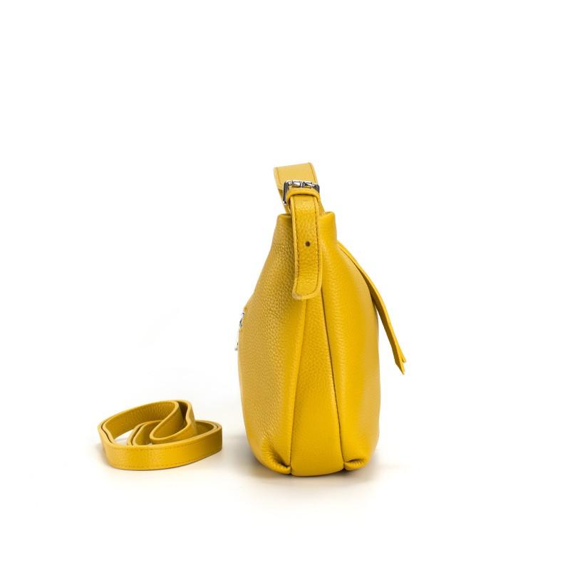 Женская кожаная сумка хобо Monica желтая - 2 фото
