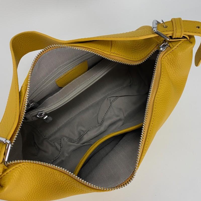 Женская кожаная сумка хобо Monica желтая - 6 фото