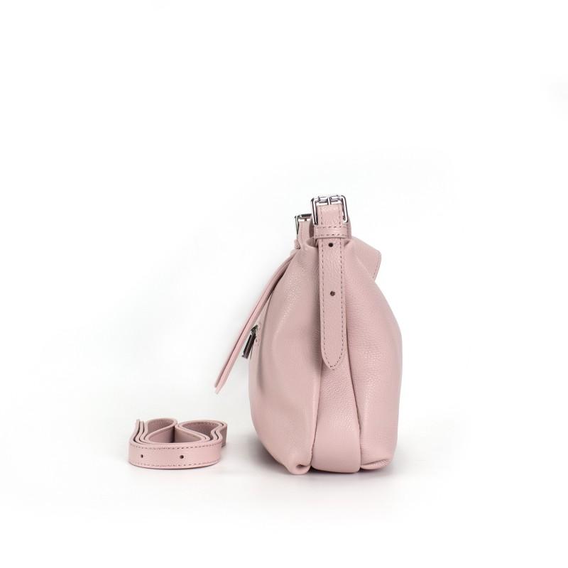 Женская кожаная сумка хобо Monica розовая пудра - 1 фото