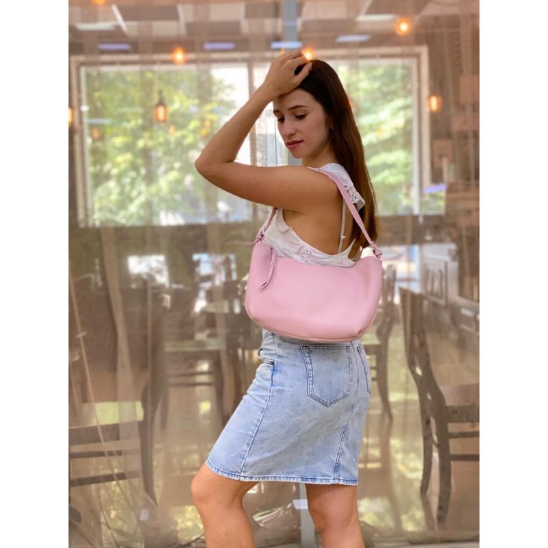 Женская кожаная сумка хобо Monica розовая пудра - 2 фото