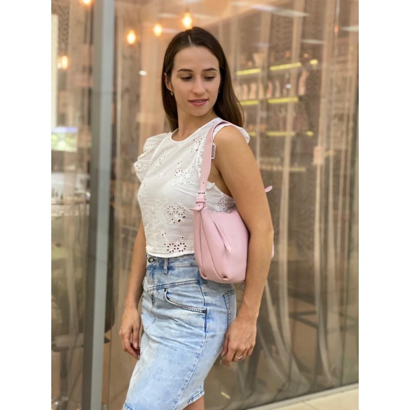 Женская кожаная сумка хобо Monica розовая пудра - 4 фото