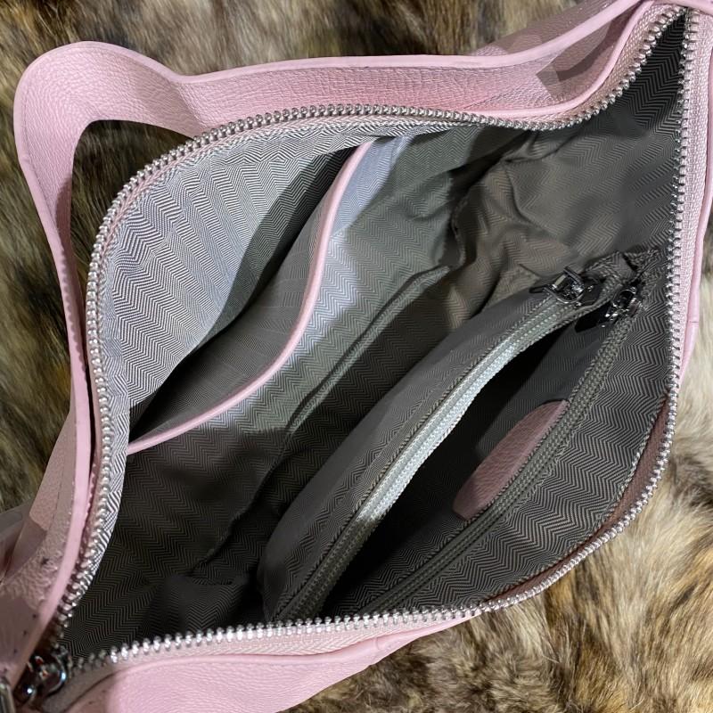 Женская кожаная сумка хобо Monica розовая пудра - 6 фото