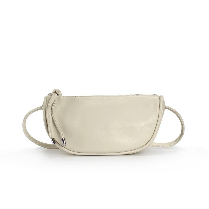 Женская кожаная сумка Rebecca кремовая фото