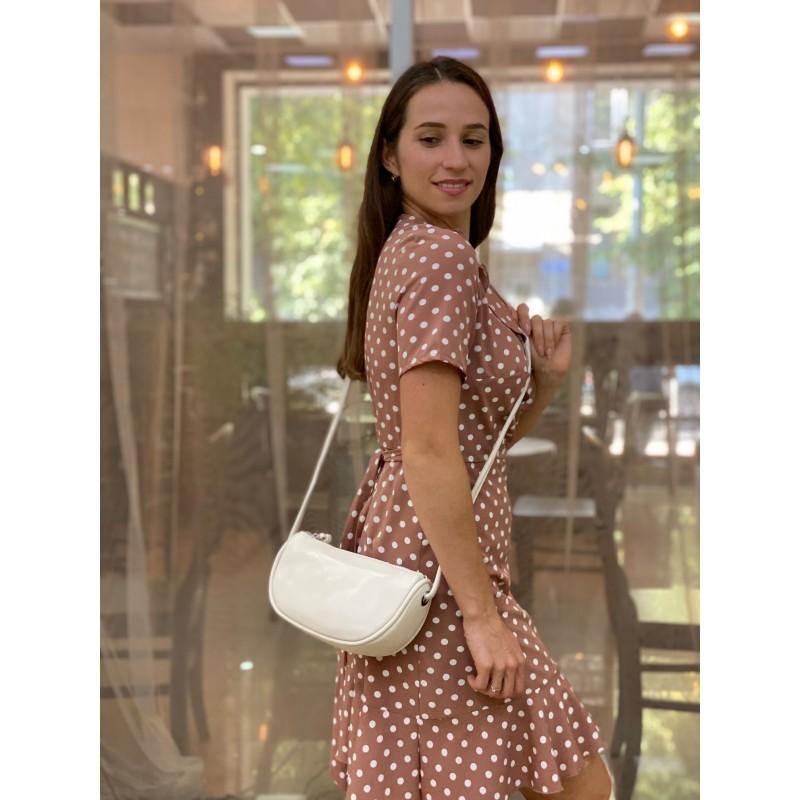 Женская кожаная сумка Rebecca кремовая - 1 фото