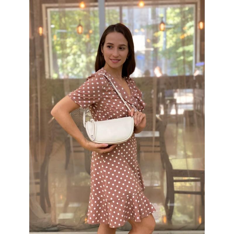 Женская кожаная сумка Rebecca кремовая - 3 фото