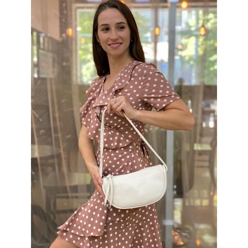 Женская кожаная сумка Rebecca кремовая - 4 фото