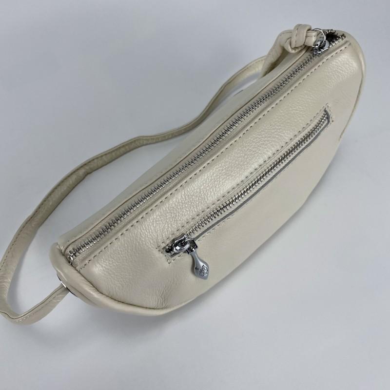 Женская кожаная сумка Rebecca кремовая - 5 фото