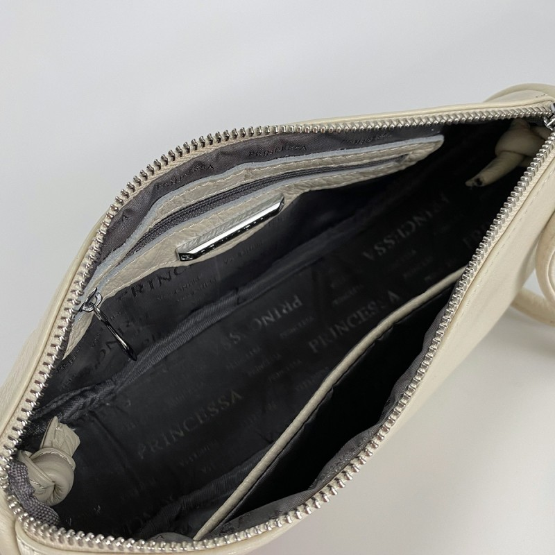 Женская кожаная сумка Rebecca кремовая - 6 фото