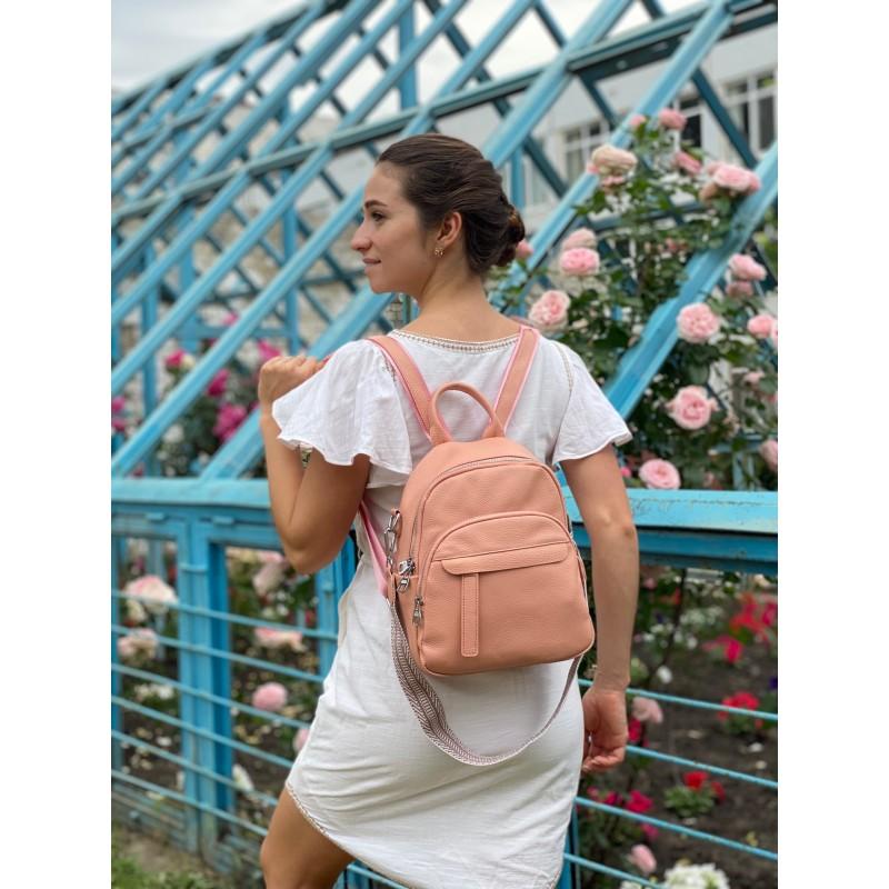 Женский рюкзак Jessica кожаный персиковый - 4 фото