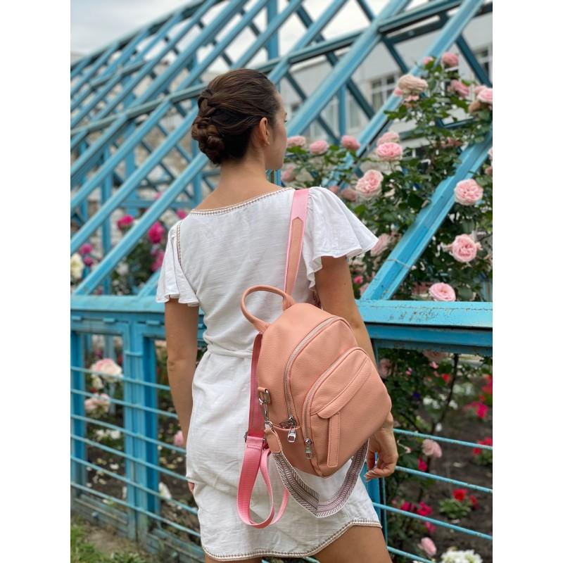 Женский рюкзак Jessica кожаный персиковый - 5 фото