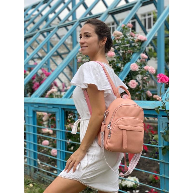 Женский рюкзак Jessica кожаный персиковый - 6 фото