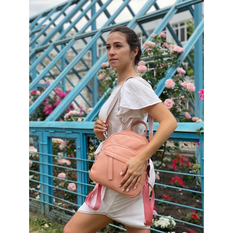 Женский рюкзак Jessica кожаный персиковый - 7 фото