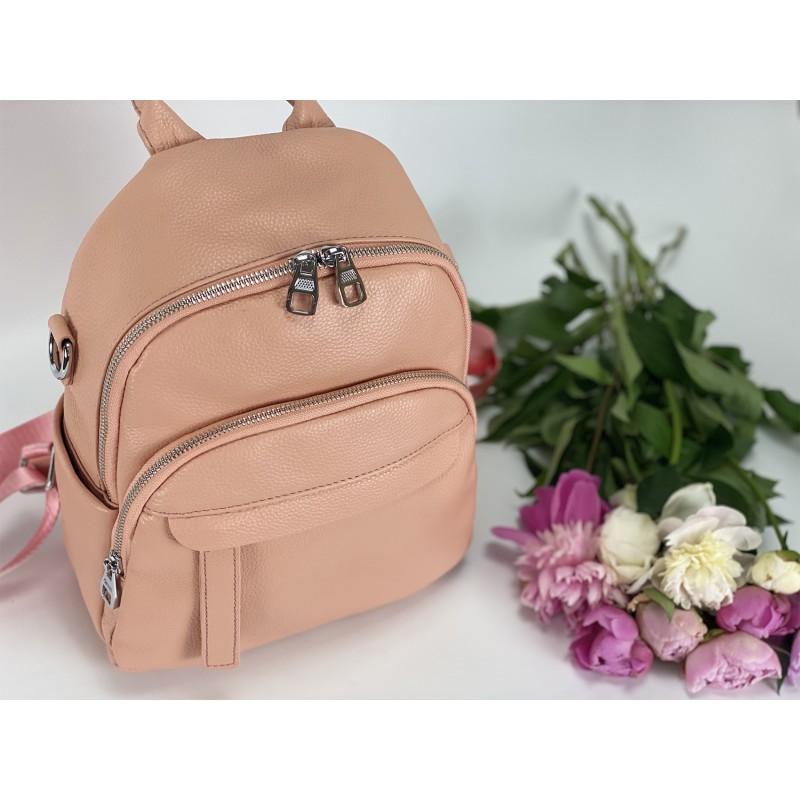 Женский рюкзак Jessica кожаный персиковый - 8 фото