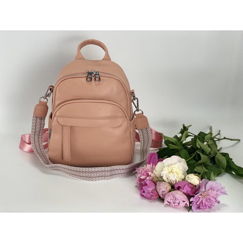 Женский рюкзак Jessica кожаный персиковый - 9 фото