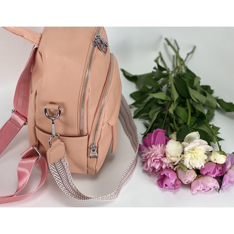 Женский рюкзак Jessica кожаный персиковый - 10 фото