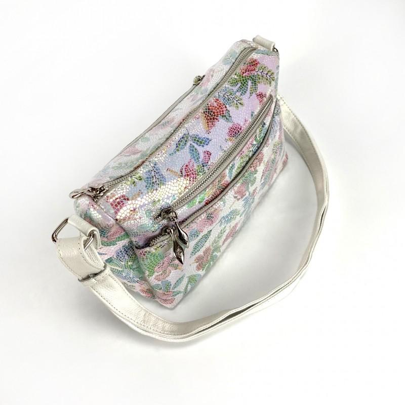 Женская кожаная сумка Marie лазерка разноцветная - 1 фото