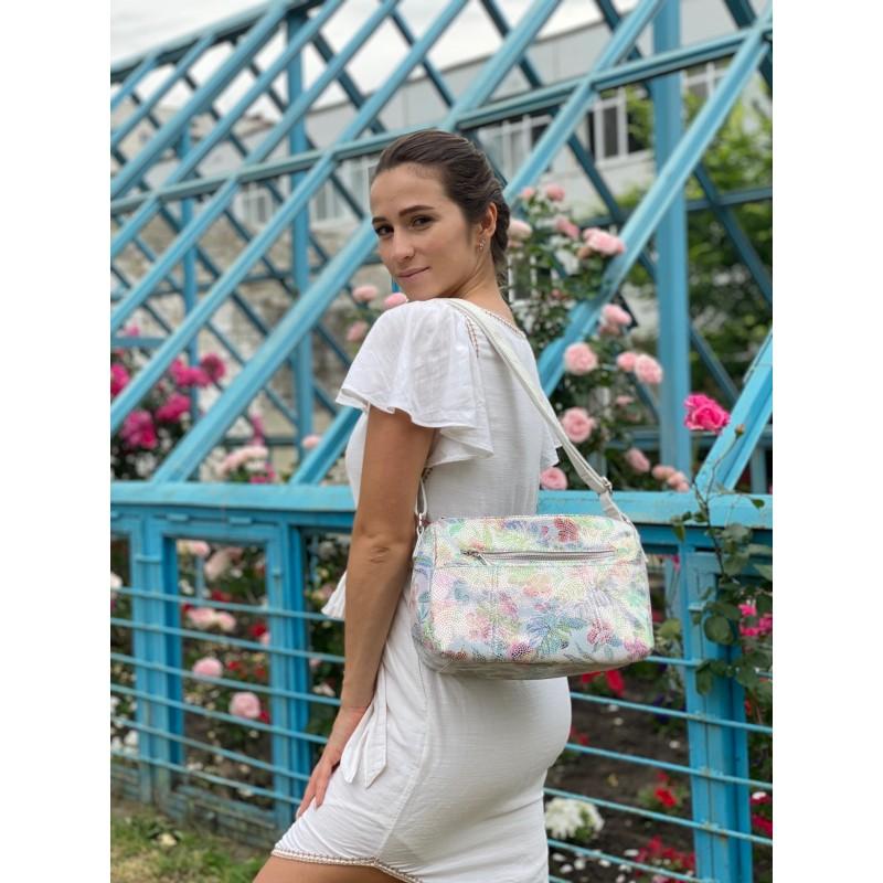 Женская кожаная сумка Marie лазерка разноцветная - 5 фото