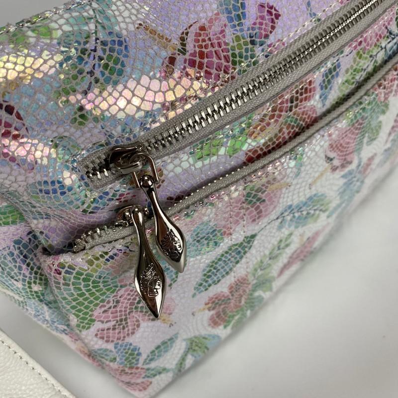 Женская кожаная сумка Marie лазерка разноцветная - 8 фото