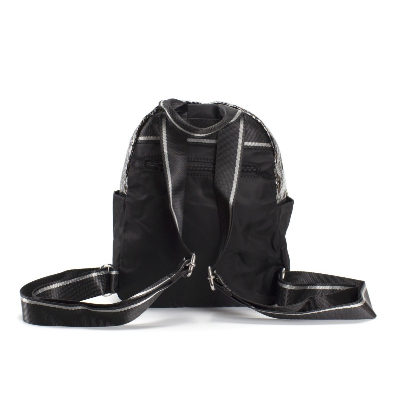 Женский рюкзак Juliet черный с серебром - 3 фото
