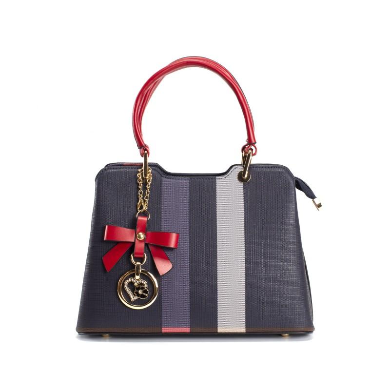 Женская классическая сумка Grace синяя с красными ручками фото