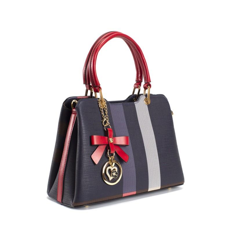 Женская классическая сумка Grace синяя с красными ручками - 1 фото