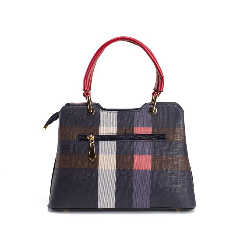 Женская классическая сумка Grace синяя с красными ручками - 2 фото