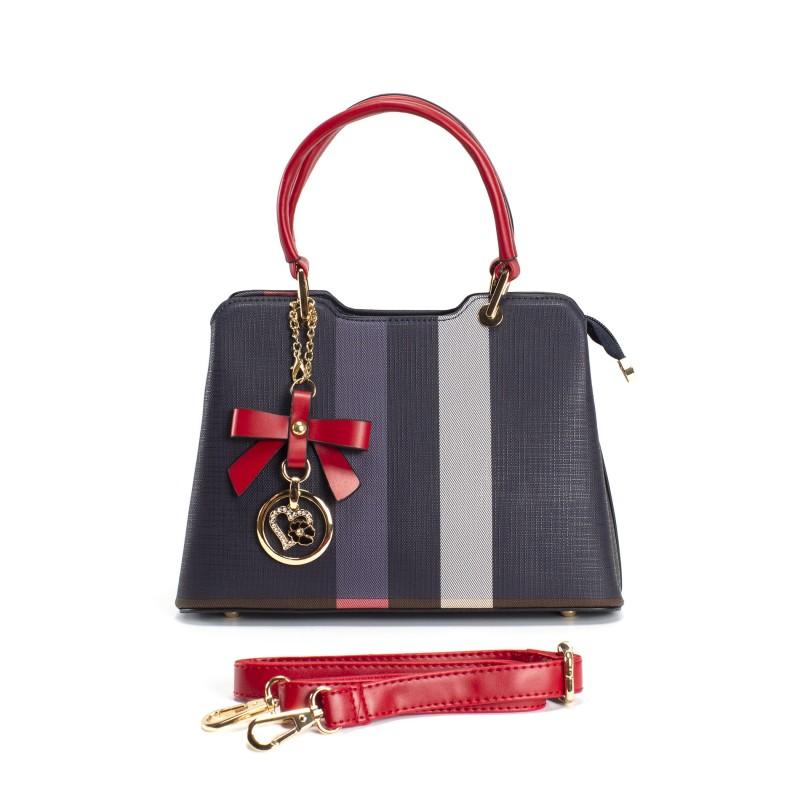 Женская классическая сумка Grace синяя с красными ручками - 4 фото