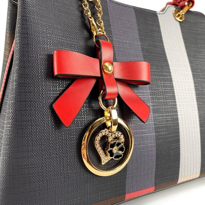 Женская классическая сумка Grace синяя с красными ручками - 5 фото