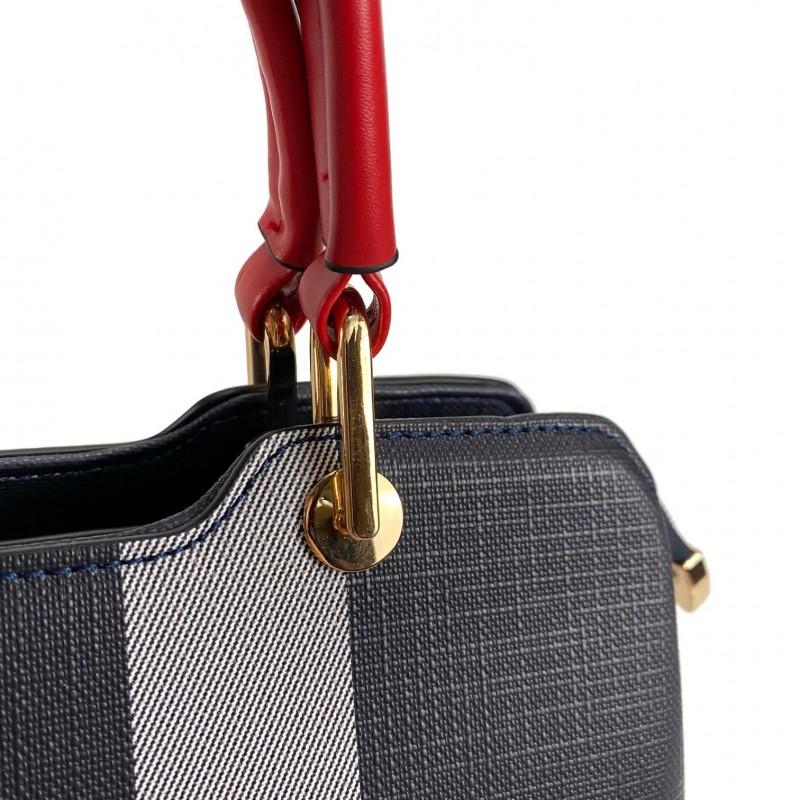 Женская классическая сумка Grace синяя с красными ручками - 6 фото