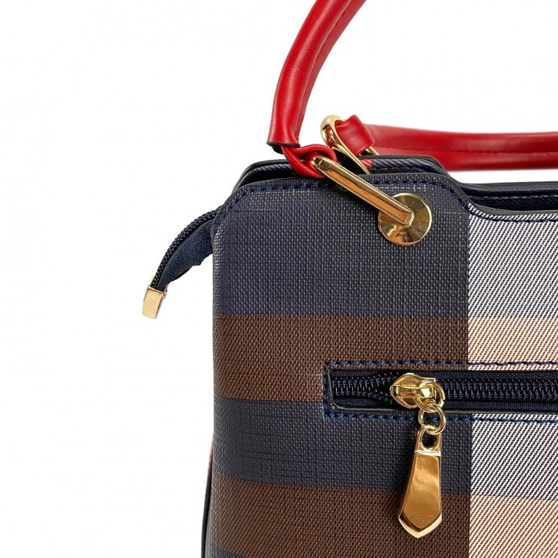 Женская классическая сумка Grace синяя с красными ручками - 7 фото