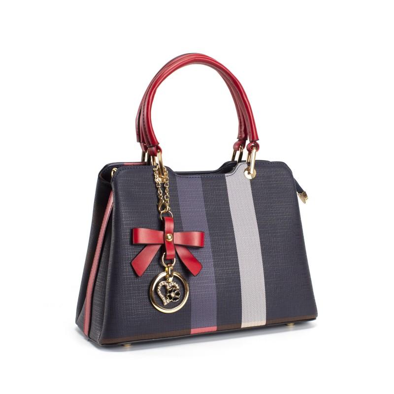 Женская классическая сумка Grace синяя с красными ручками - 9 фото