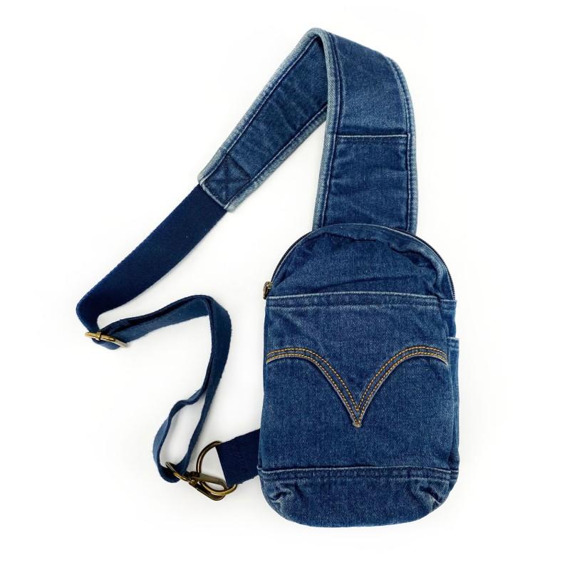 Мужская сумка James кросс боди джинсовая синяя фото