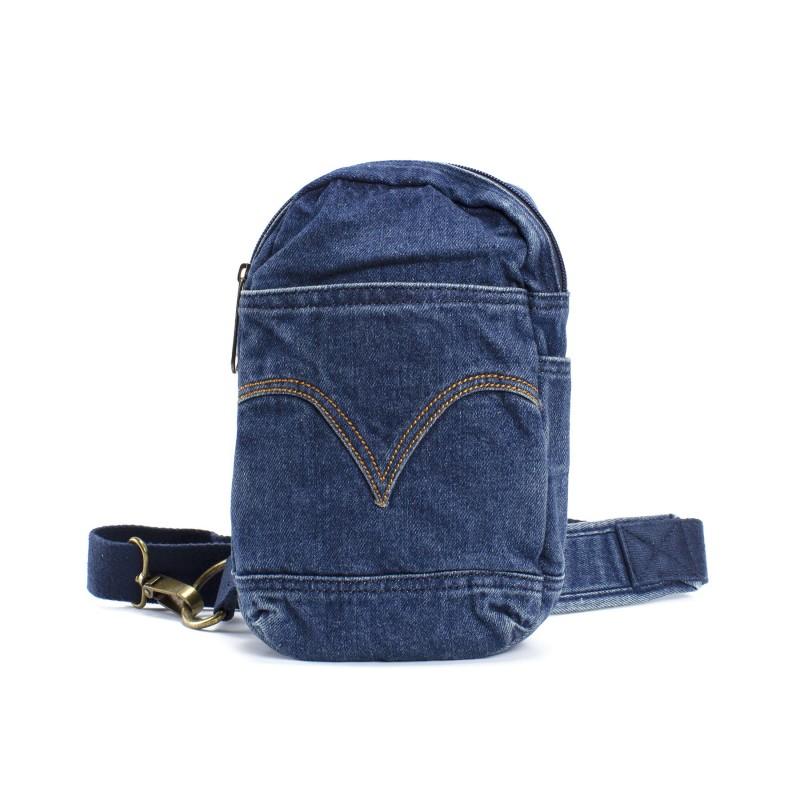 Мужская сумка James кросс боди джинсовая синяя - 1 фото