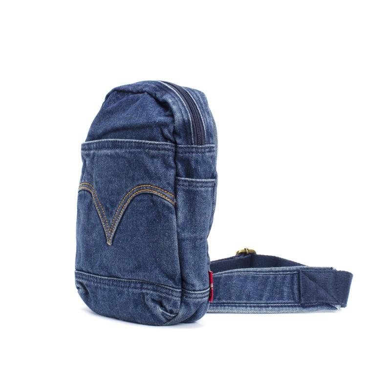 Мужская сумка James кросс боди джинсовая синяя - 2 фото