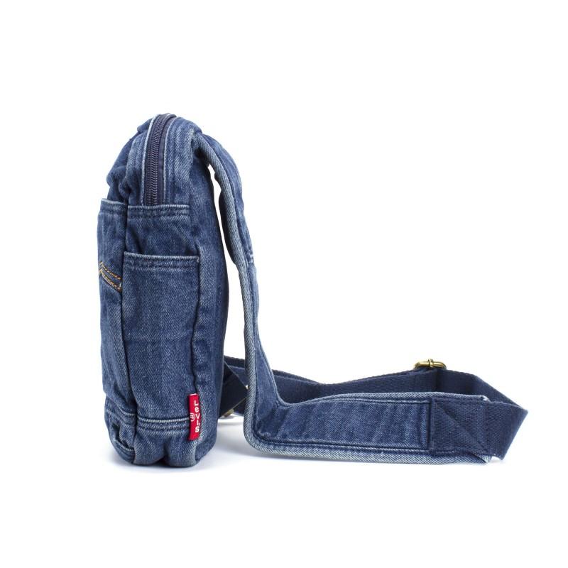 Мужская сумка James кросс боди джинсовая синяя - 3 фото