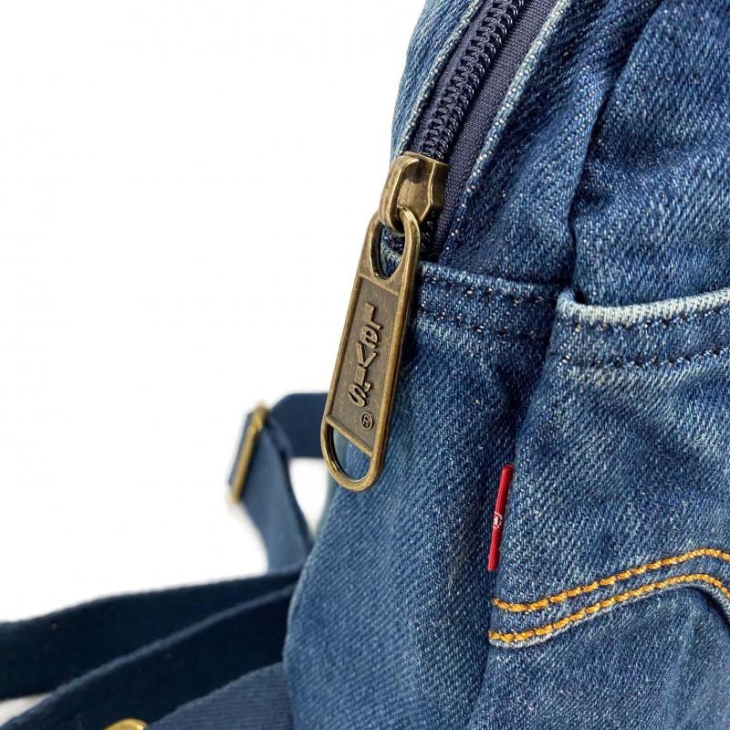 Мужская сумка James кросс боди джинсовая синяя - 4 фото