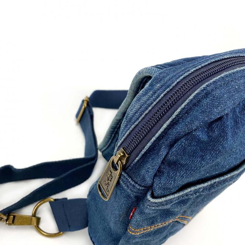 Мужская сумка James кросс боди джинсовая синяя - 5 фото