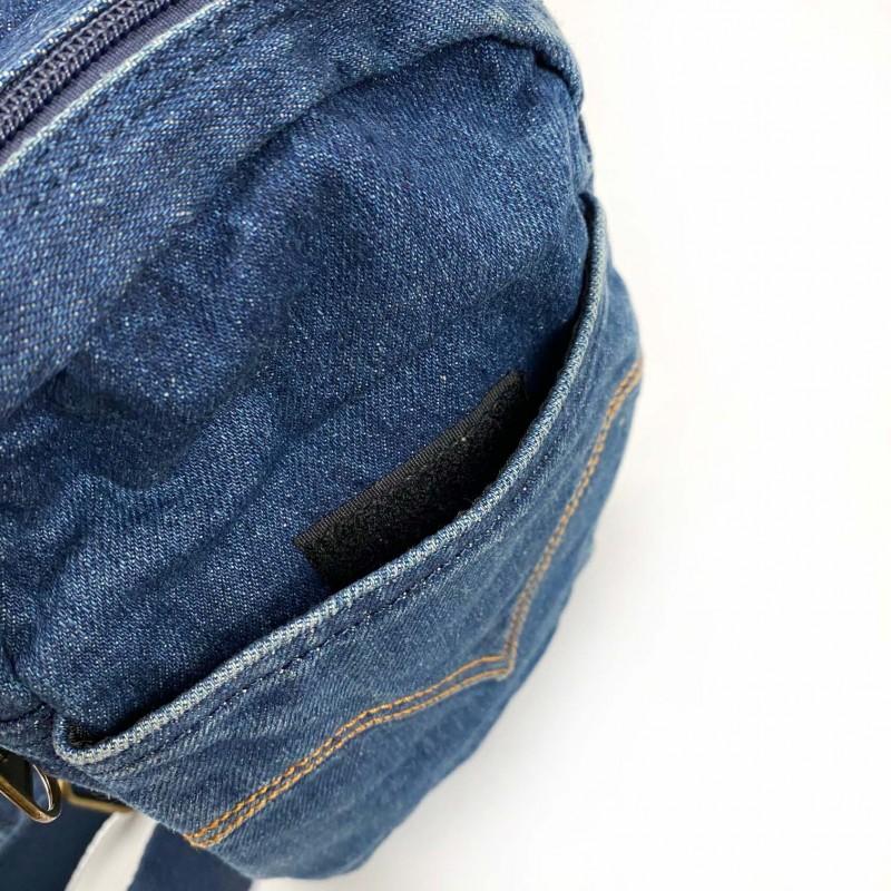 Мужская сумка James кросс боди джинсовая синяя - 6 фото